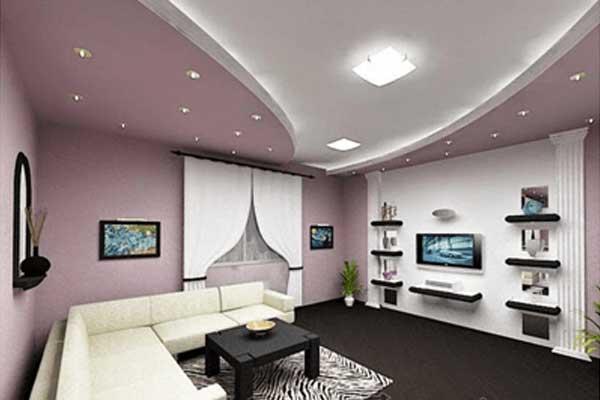 Bedroom false ceiling designs of gypsum with hidden lighting