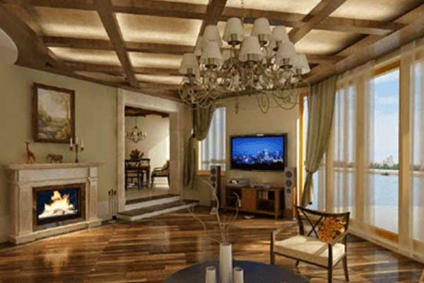 Wood false ceiling design for country living room