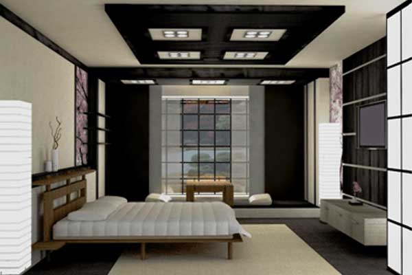 Suspended ceiling systems for bedrooms in Japanese style